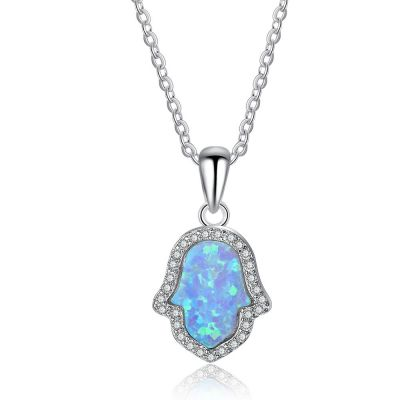 Fashion Palm Blue Created Opal Sterling Silver Necklace