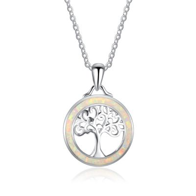 New Tree In Created Opal Circle 925 Silver Necklace