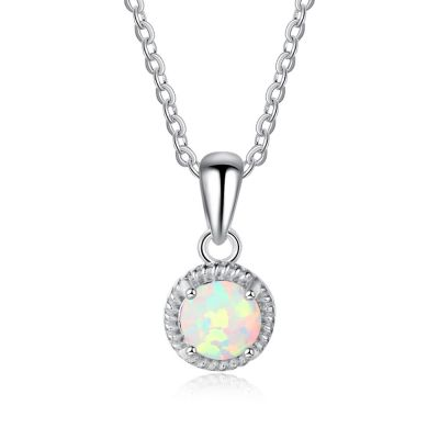 Simple Round Created Opal CZ 925 Silver Necklace
