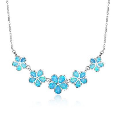 Statement Shinning Blue Five Flowers Created Opal 925 Silver Necklace