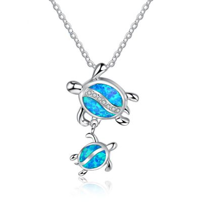 Mother And Child Tortoise Created Opal 925 Silver Necklace