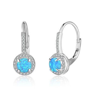Sweet Round Created Opal 925 Sterling Silver Hoop CZ Earrings
