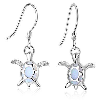 Sweet Tortoise Created Opal 925 Sterling Silver Dangling Earrings