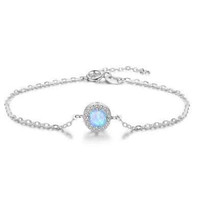 Round Single Cyan Opal Solid 925 Sterling Sliver Bracelet
