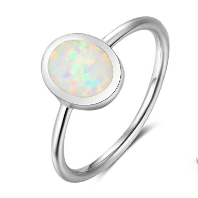 Simple Oval Natural Austrian Opal Solid 925 Sterling Silver Ring