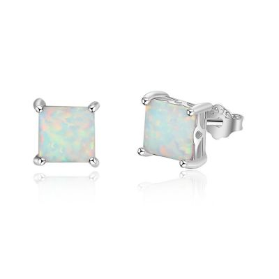 Simple Square Created Opal 925 Sterling Studs Earrings