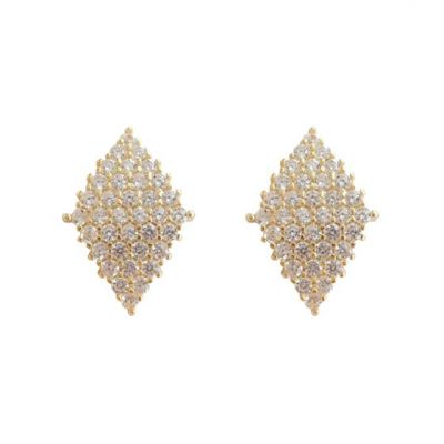 Geometric CZ Rhombus 925 Sterling Silver Stud Earrings