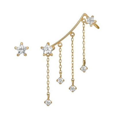 Holiday CZ Star Tassels 925 Sterling Silver Climber Earrings