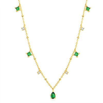 Elegant Green Square CZ 925 Sterling Silver Necklace