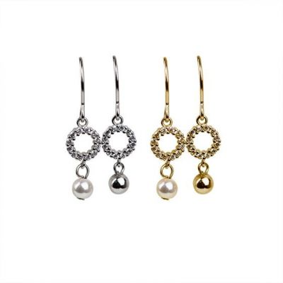 Office CZ Circle Shell Pearl Ball 925 Sterling Silver Dangling Earrings