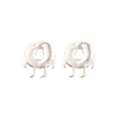 Cute Doughnut Monster 925 Sterling Silver Stud Earrings