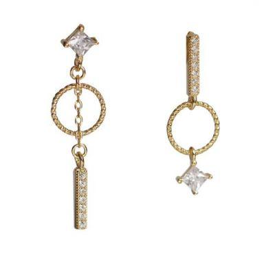 Asymmetry CZ Geometry Circle Star 925 Sterling Silver Dangling Earrings