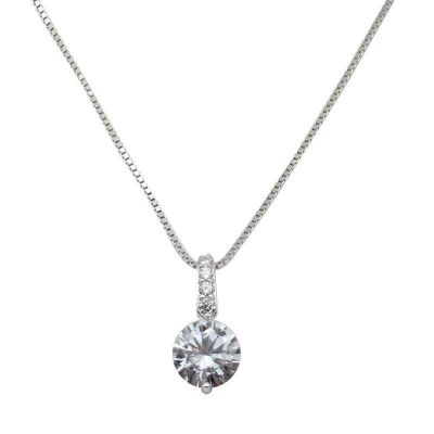Minimalism Round CZ 925 Sterling Silver Necklace
