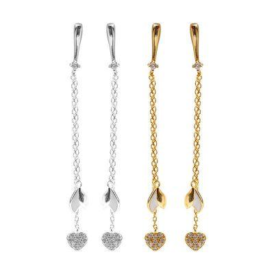 Elegant CZ Heart Tassels 925 Sterling Silver Dangling Earrings
