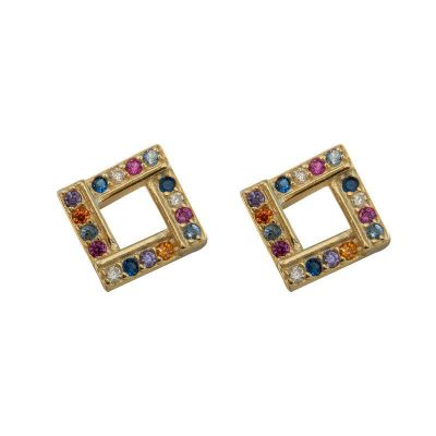 Colorful CZ Square Hollow Geometry 925 Sterling Silver Stud Earrings