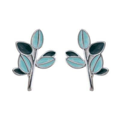 Holiday Blue Leaves Branch 925 Sterling Silver Stud Earrings