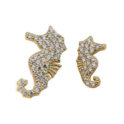 Cute Animal CZ Hippocampus 925 Sterling Silver Stud Earrings