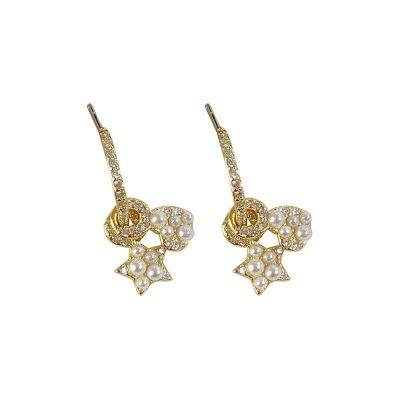 Sweet CZ Heart Star Shell Pearl 925 Sterling Silver Hoop Earrings