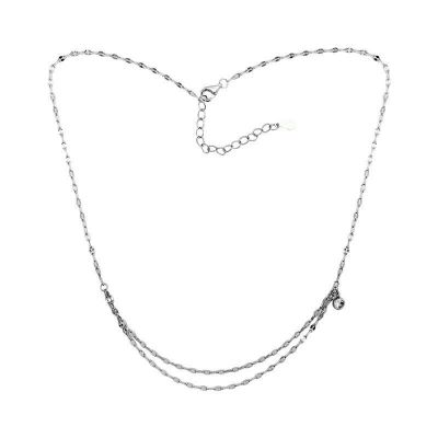 Fashion Double Layer CZ 925 Sterling Silver Necklace
