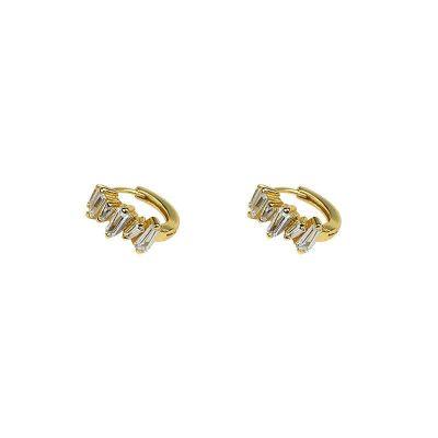Geometry CZ Iceberg 925 Sterling Silver Hoop Earrings