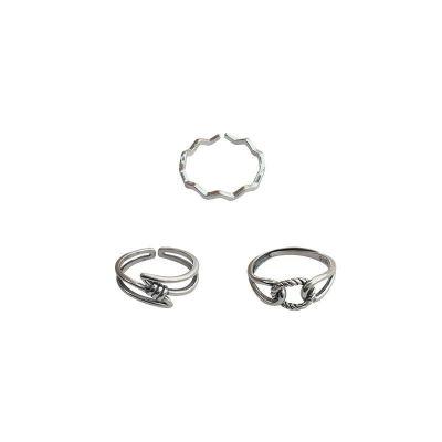 Fashion Wave Z Shape Knot 925 Sterling Silver Adjustable Ring