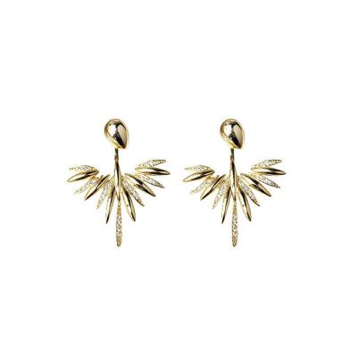 Elegant CZ Peacock Tail Double Use 925 Sterling Silver Dangling Earrings