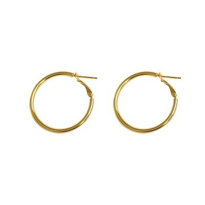 Simple Circle Geometry 925 Sterling Silver Hoop Earrings