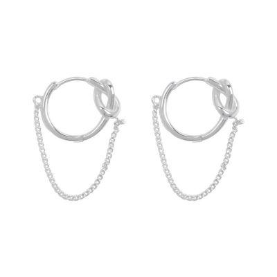 Geometry Knot Chain 925 Sterling Silver Hoop Earrings