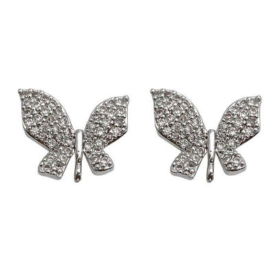 Vintage Elegant Micro Setting CZ Butterfly 925 Sterling Silver Stud Earrings