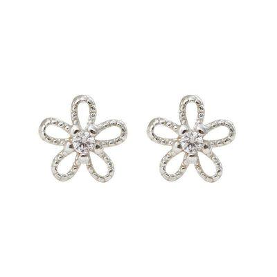 Hollow CZ Flower Beautiful 925 Sterling Silver Stud Earrings