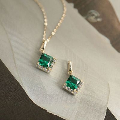 Retro Square Dark Green CZ 925 Sterling Silver Necklace