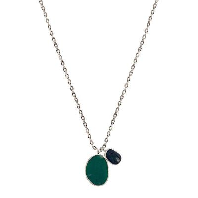 Vintage Green Black Enamel Double Pendant Clavicle Chain 925 Sterling Silver Necklace