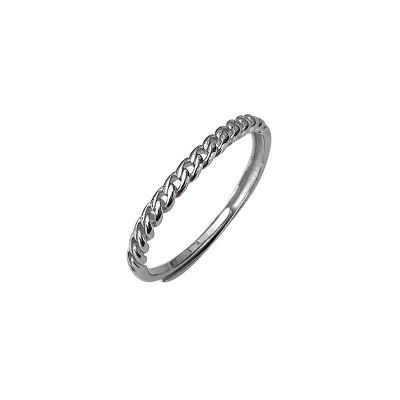 Masculine Hollow Chain 925 Sterling Silver Adjustable Ring