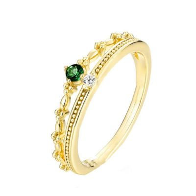 Green CZ Crown Double Layer 925 Sterling Silver Adjustable Ring