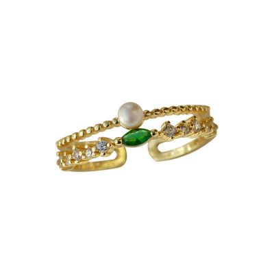 Fashion Double Layer Golden CZ Shell Pearl 925 Sterling Silver Adjustable Ring
