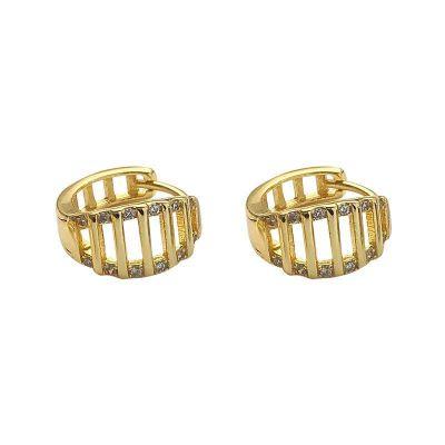 Gift Hollow CZ 925 Sterling Silver Hoop Earrings