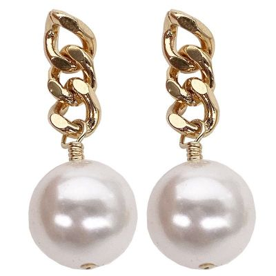Office Shell Pearl Hollow Chain 925 Sterling Silver Dangling Earrings