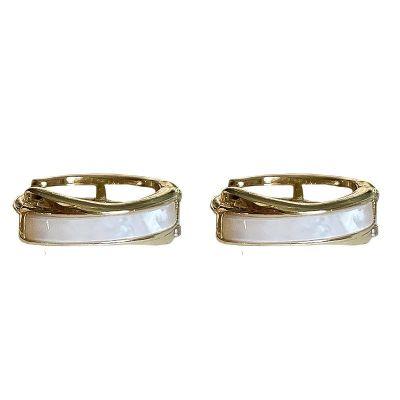 Office White Cross 925 Sterling Silver Hoop Earrings