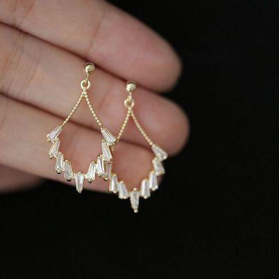 Geometry CZ Hollow Sector 925 Sterling Silver Dangling Earrings