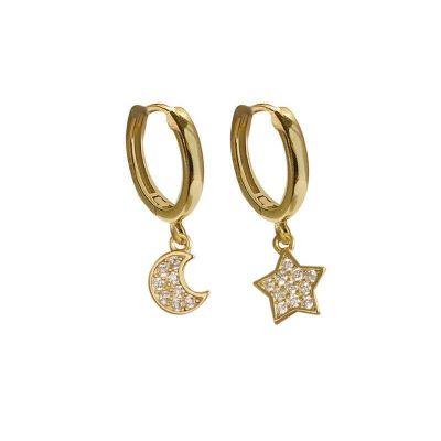 Asymmetry CZ Stars Crescent Moon 925 Sterling Silver Hoop Earrings