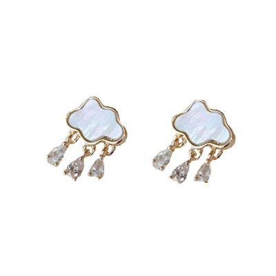Holiday Shell Cloud CZ Waterdrop Rain 925 Sterling Silver Stud Earrings
