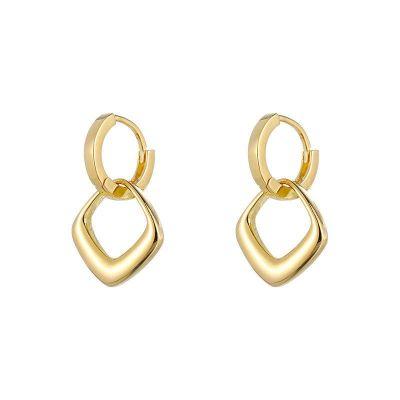 Office Hollow Geometry Rhombus 925 Sterling Silver Leverback Dangling Earrings