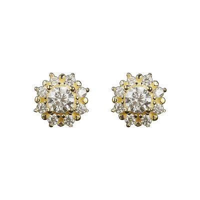 Casual CZ Sunflowers 925 Sterling Silver Stud Earrings