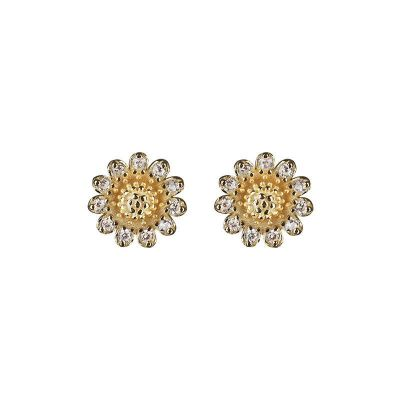 Summer CZ Sunflower 925 Sterling Silver Stud Earrings