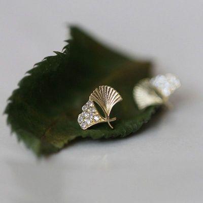 CZ植物イチョウの葉かわいい925スターリングシルバースタッドピアス