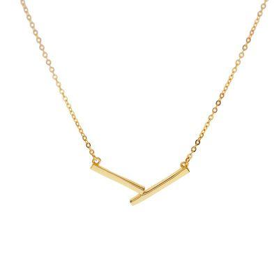 Simple Letter V Shape 925 Sterling Silver Necklace