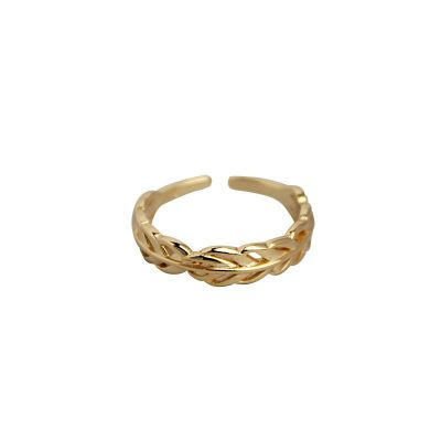 Golden Leaf 925 Sterling Silver Adjustable Ring