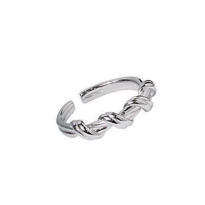 Classic Twisted 925 Sterling Silver Adjustable Ring