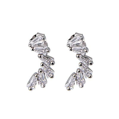 Elegant CZ C Shape 925 Sterling Silver Dangling Earrings