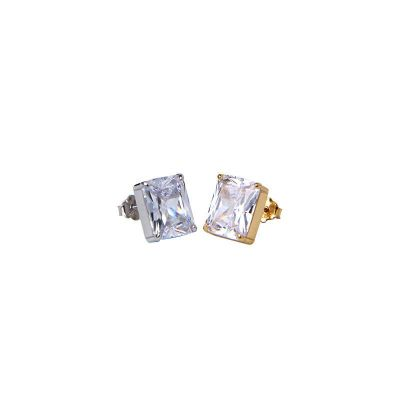 Geometry Square CZ 925 Sterling Silver Stud Earrings